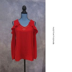 NEW Notations Red Cold Shoulder Top w/ Bling Sz S
